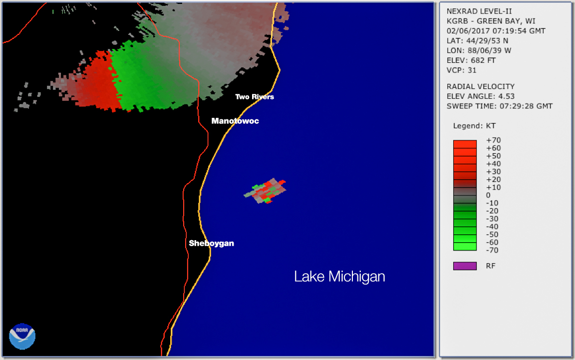 NASA's NEXRAD Doppler Weather Radar echo of the February 6th, 2017 fireball. Echoes on top of the map are due to rain, but the patch above the Lake Michigan is linked to the ionized train of the bright meteor. Credit: Marc Fries, NOAA