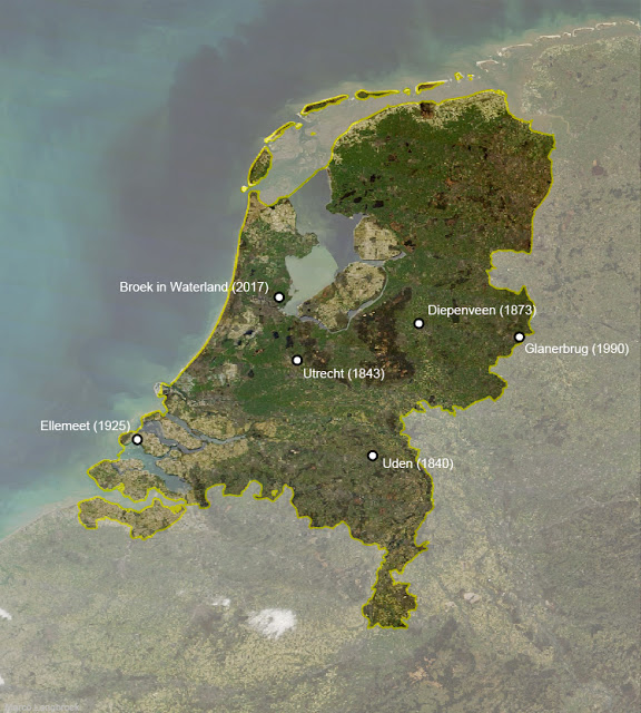 Map showing the landing site of the Broek in Waterland meteorite, 10 km North-East of Amsterdam, in the Netherlands.