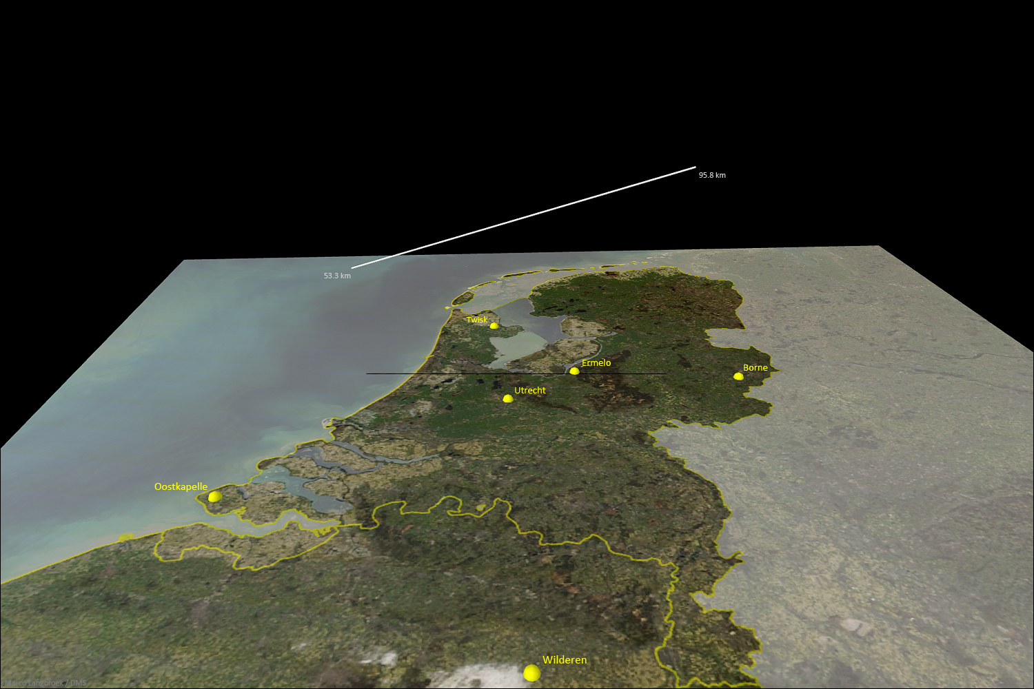 3D trajectory of the September 21st, 2017, 19h 00min UT fireball, as calcultated from ther 6 video records of the Dutch-Belgian all-sky meteor camera network. Credit: Marco Langbroek