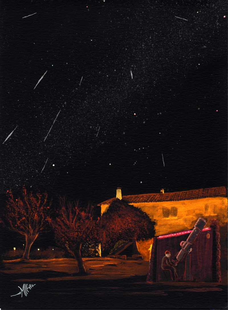 Water colour painting of 2017 Geminids display by Michel Deconinck (France). Credit: Michel Deconinck