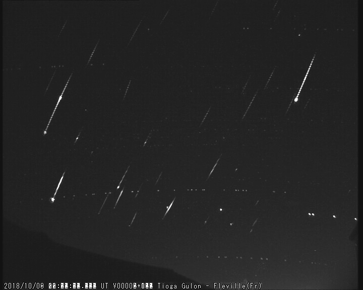 Stacked picture of 2018 Draconids as recorded by Tioga Gulon from his station of Fléville (Eastern France). Credit: Tioga Gulon