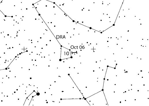 Position of Draconids radiant: located in the head of Draco, it's circumpolar for most of Northern hemisphere observing sites. Credit: IMO
