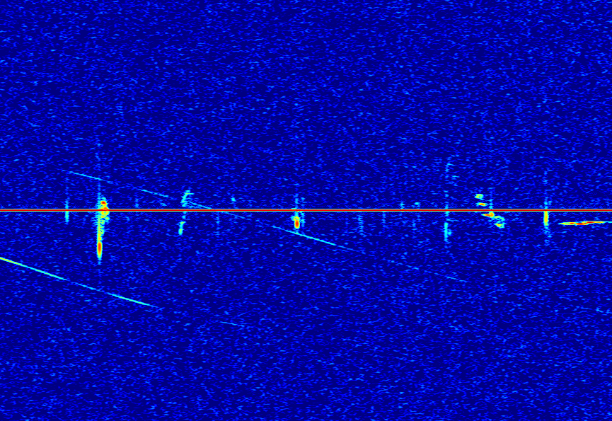 High increase of meteor radio echoes recorded by Hervé Lamy, as the outburst of Draconids was under way, on October 8, around 23h50 UT. Credit: Hervé Lamy