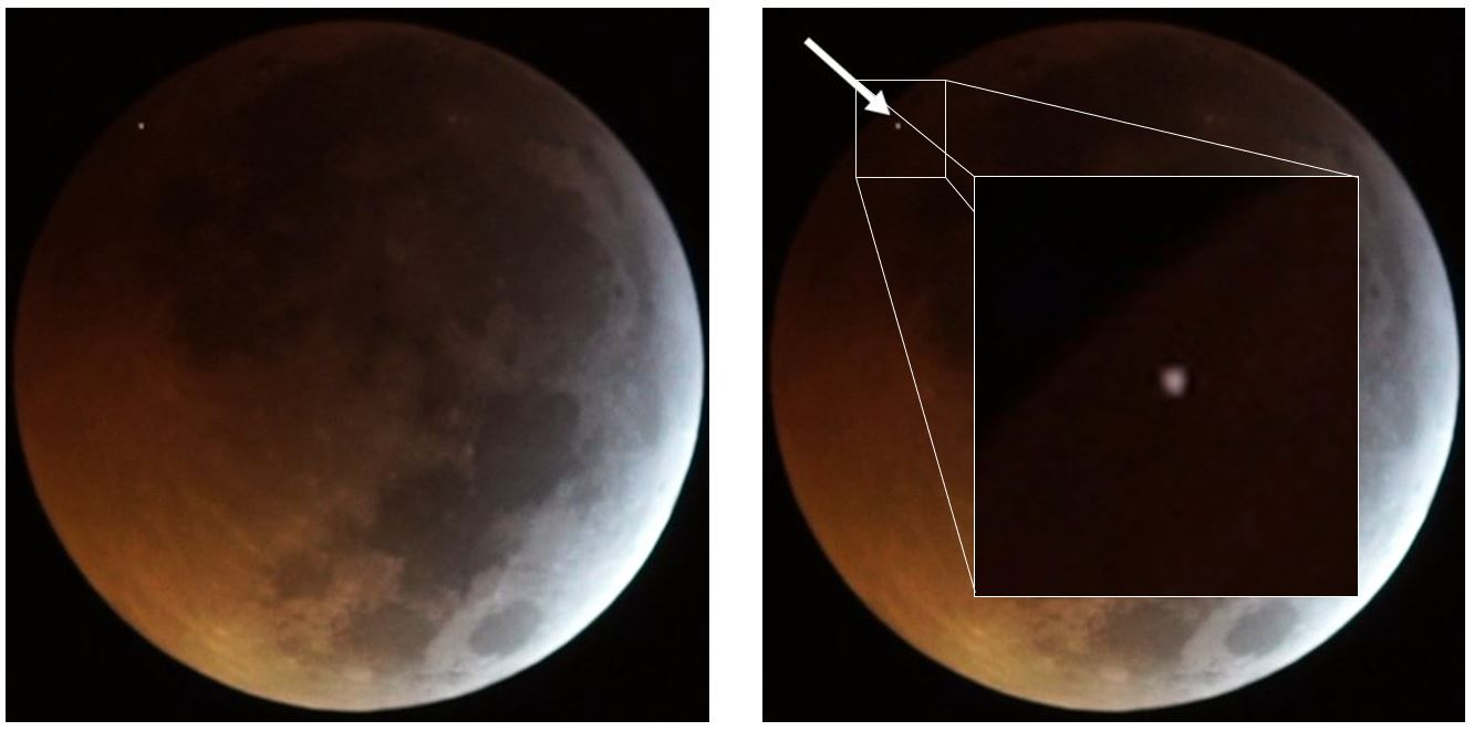 Global view and closer view of the meteoroid impact on the Moon observed and filmed during the January 21st, 2019 Moon eclipse. Credit :