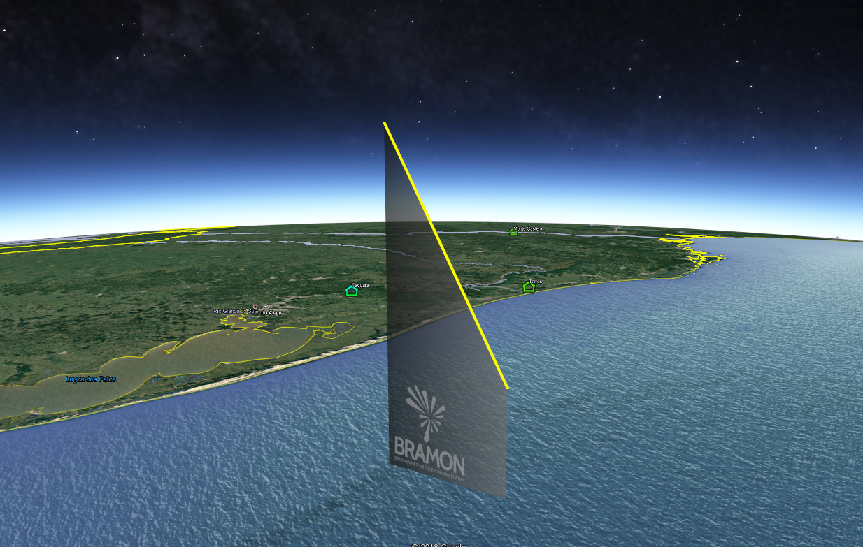 3D trajectory calculated from the video recordings of the April 12, 2019, 06h 20min UT Brazilian fireball. Credit: BRAMON