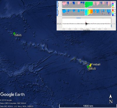 Fireball over Hawaii with the closest Infrasound stations and the signal detected with I59US.