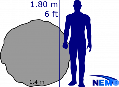 Asteroid size with a human for scale.
