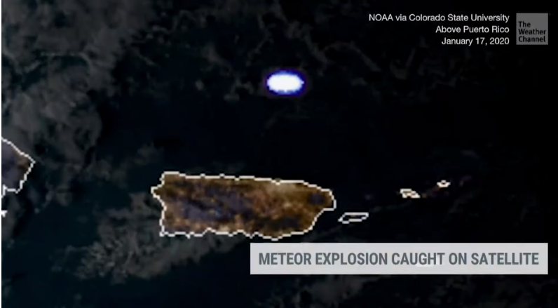The NOAA Weather Satellite caught the entering asteroid just north of Puerto Rico.