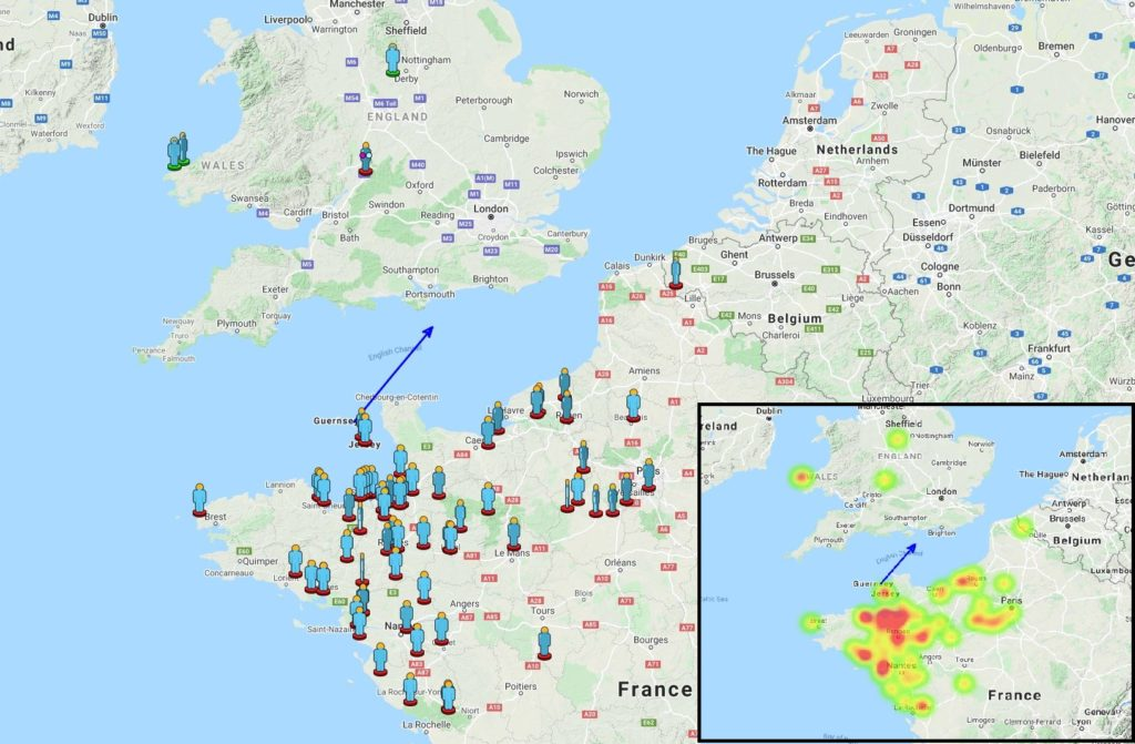 Figure 1- Visual reports and heat map of the witnesses of the March 20, 2021, ~14h 53min UT fireball over the Channel. Credit: IMO/AMS.