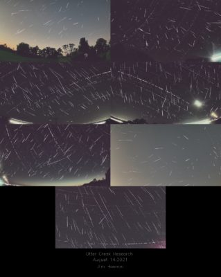 This picture shows 822 meteors captured by Jim Bonser on August 14, 2021 with his AMS41 camera of the for the Cedar Amateur Astronomers Iowa stations. Credit: Jim Bonser